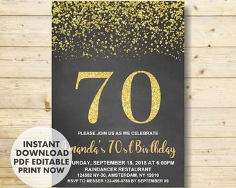 70th Birthday Invitation Gold Party INSTANT DOWNLOAD Invitations For Women