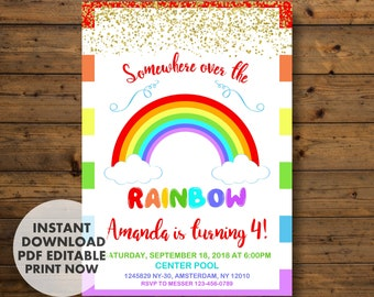 Rainbow Invitations, Rainbow Birthday Invitation, Rainbow Party, INSTANT DOWNLOAD, Rainbow, Rainbow Invite, Rainbow Birthday