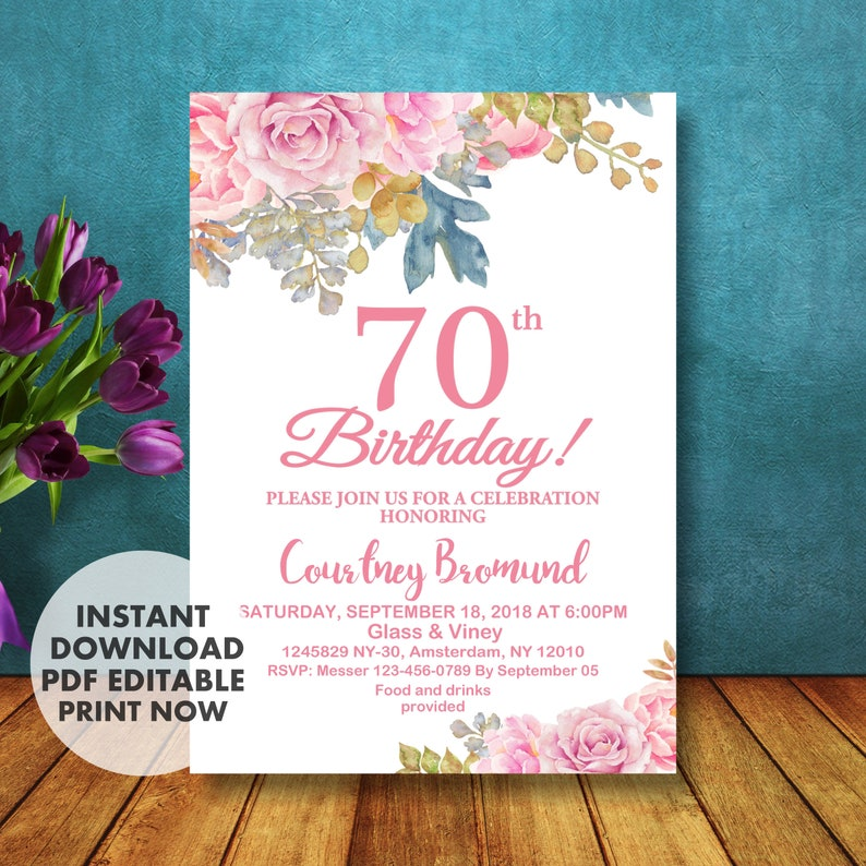 70th Birthday Invitation For Her Floral