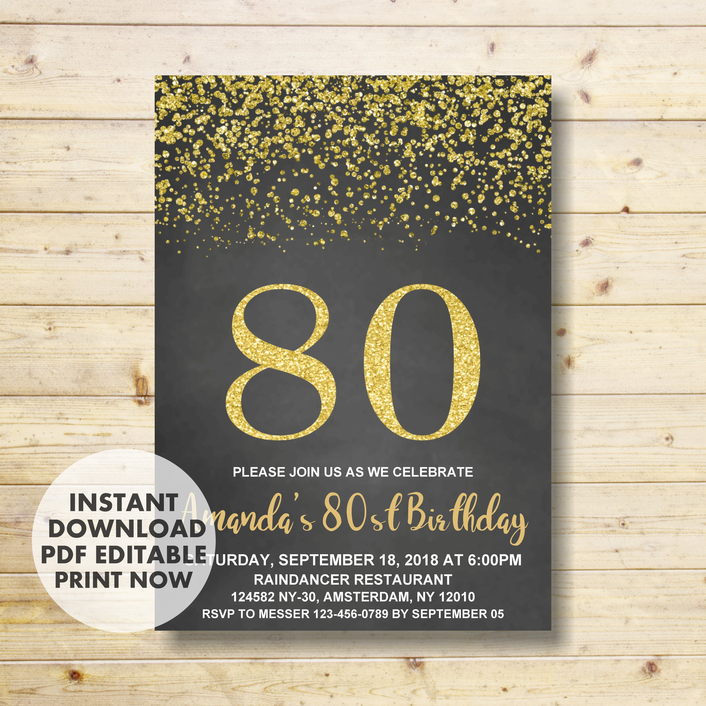80th Birthday Invitation 80th Birthday Gold Birthday Etsy