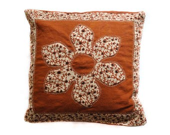 Applique Pillow Cover - Brown Flower