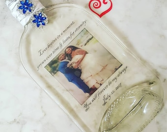 Images on melted glass bottles