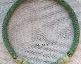Beads Crochet Necklace Choker Jewelry Handmade Gift Present Green serpentine