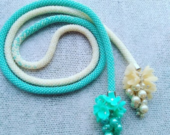 milk and mint Beads Crochet Necklace Lariat Jewelry Floral Handmade Gift Present