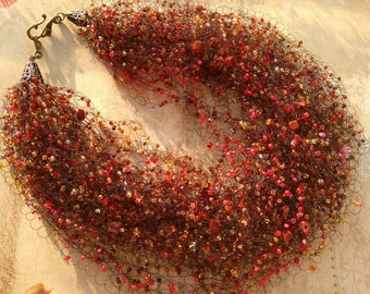 Beads Crochet Necklace Choker Jewelry Handmade Gift Present Brown Aventurine autumn
