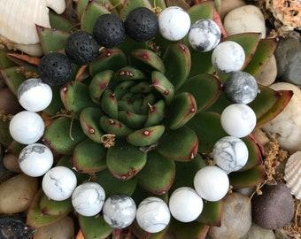 SALE 10mm Howlite stone aromatherapy bracelet