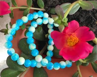 SALE 8mm glass bead bracelet in blue/beige