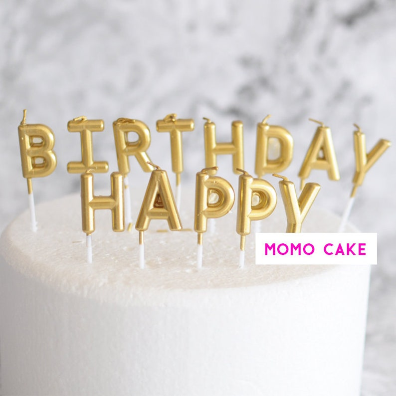 Gold Cake ToppersDecor Metallic Gold Silver Sparkle Party Birthday Cake Candles Happy Birthday Candles Dessert Table