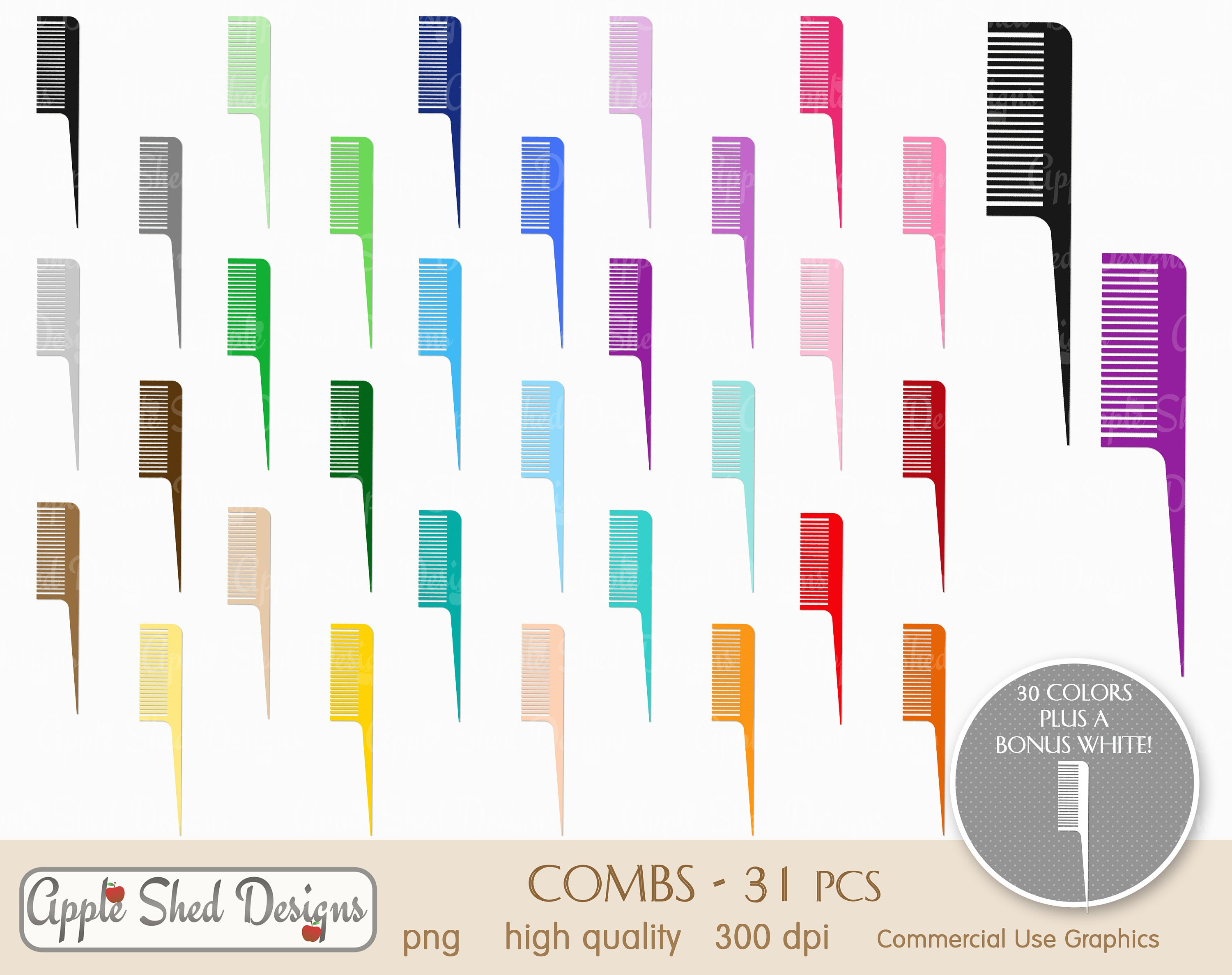 Comb Clipart 31 Qty Planner Clipart Icons Rainbow Color Etsy