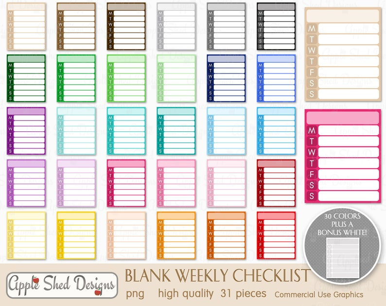 31 qty sticker clipart multi-color clipart WEEKLY BLANK CHECKLIST Clipart printable weekly list planner clipart rainbow color clip art