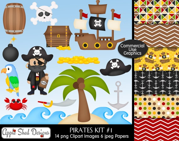 island canon ball parrot treasure 14 Clipart and 6 Digital Papers ship Digital Clipart /& Papers boat Kit #2 waves PIRATES pirate