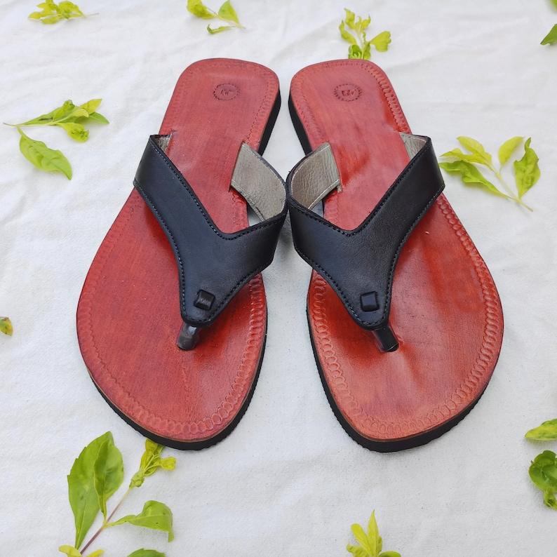 446e1c52ee1c1 Handmade Black Leather Flip Flop for Women - Handcrafted Leather Sandal -  Women Sandal - Handmade Black Color Leather Sandal