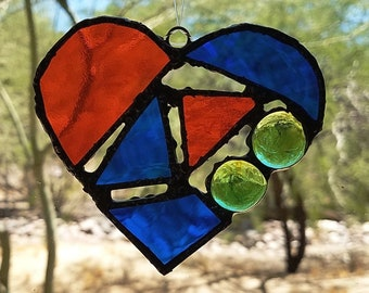 Abstract Glass Heart Ornament Multi Colors Wall Art Window Decor Garden Art Yard Art Glass Art Patio Decor Stained Glass Suncatcher