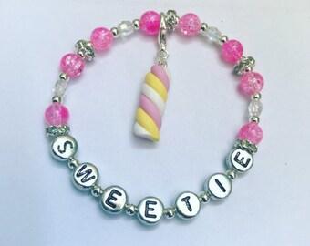 Personalised Childs Bracelet With Shamballa Beads Any Name 3-6 Yrs