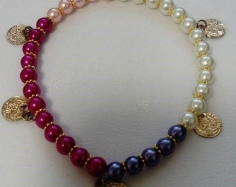 multi colour anklet with coin charms