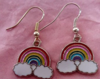 rainbow enamel drop earrings