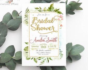 Greenery Bridal Shower Invitation / Gold Printable DIY Party Invite