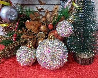 Merry Christmas Rhinestone Glitter Ball Xmas Tree Ornament Decoration K4V7