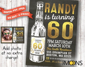 60th birthday invitation for men with photo surprise 60th etsy 60th birthday invitation for men cheers beers to 60 years invitation 60th birthday invitation 1958 birthday you print invites filmwisefo