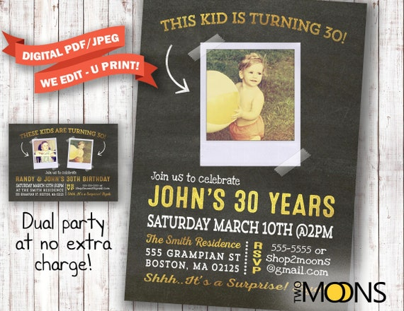 30th birthday invitation for men with photo surprise 30th etsy image 0 filmwisefo
