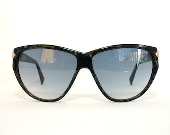 ad9d40ac20fb6e Silhouet-zonnebril zwart marmeren gouden Oversized acetaat Vintage 80 s 90   s middelgrote grote nieuwe oude voorraad NOS vrouwen is haar luxe cadeau  idee