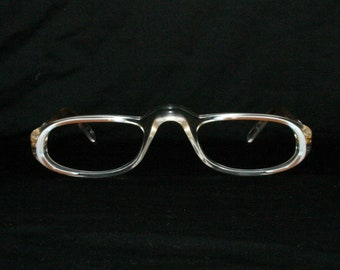 65e2f28b9f5 Lozza Reading Glasses Vintage Frame Vision 80 s New Old Stock 1980 s Italy  Size 50-23-140 Transparent White Brown Medium Large Men s Women s
