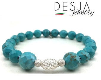 Sky Blue bracelet Natural stones Turquoise and silver 925 elements with shopper and gift case