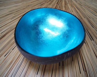 Vietnamese Coconut Shell Bowl-Turquoise