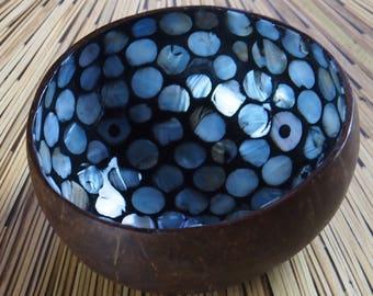 Vietnamese Coconut Shell Bowl-Silver Mosaic