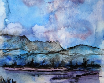 Free shipping Art painting 18*14 cm, original drawing, watercolor art, drawing of nature, wall art, blue decor, mountain, landscape
