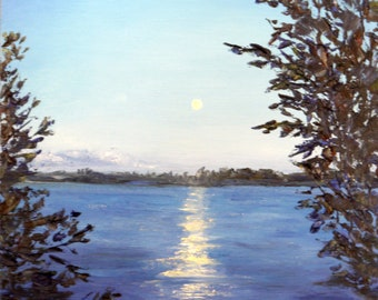 Free shipping Art Oil painting 30*40 cm, original drawing, oil art, drawing of nature, wall art, blue decor, moon, oil landscape, lake