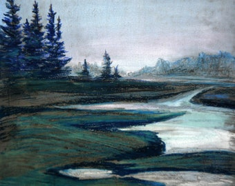 Free shipping Art Pastel painting 23*28 cm, original drawing, pastel art, drawing of nature, wall art, forest, river, oil landscape, lake