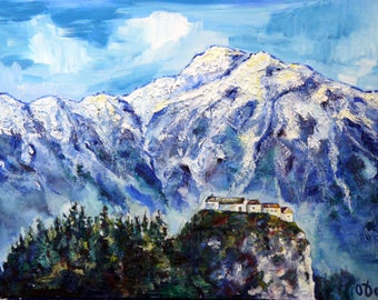 Free shipping Art Oil painting 30*40 cm, original drawing, oil art, drawing of nature, wall art, blue decor, mountain, oil landscape