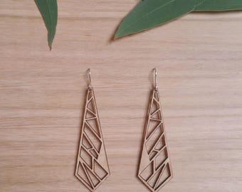 Geo Drops - geometric / handmade earrings / geometric drop earrings / elegant earrings / unique earrings / wood jewellery