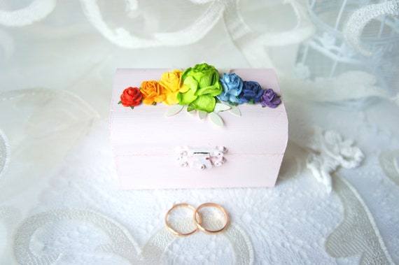 Small Ring Pillow Box Pride Ring Bearer Box LGBT Gay Rainbow Ring Pillow Box Set Distressed Rustic Wood Box Same Sex Rustic Gift Box