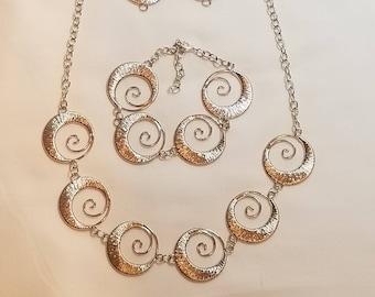 Silver Swirl 3pc Necklace Set