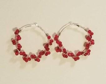 Red Crystal Wrapped Hoop Earrings