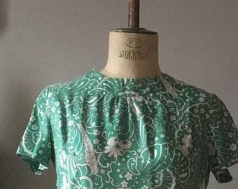 Vintage 1960s emerald green floral dress size 16 Hillora label