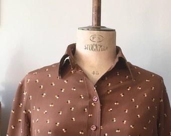 Vintage homemade blown spotty silk blouse size 16