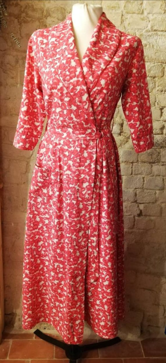 1950s Pink Floral Print Dressing Gown/Housecoat Si