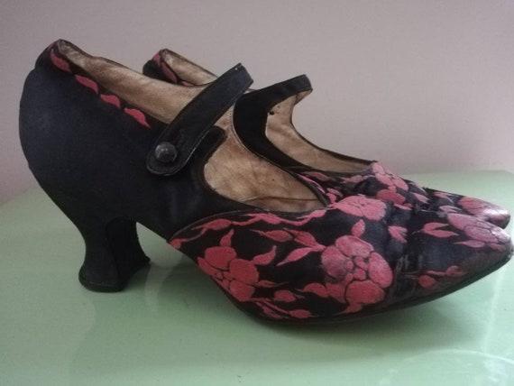 1920s Black Silk Dance shoes