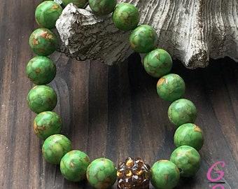 Turquoise Bracelet, Rhinestone Bracelet, Beaded Bracelet,  Turquoise Jewelry, Turquoise, Stacking Bracelet, Stretch Bracelet, Boho Bracelet