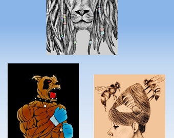 """3 pictures in a pack. 8.5""""x11""""digital prints.Fantasy art, freehand art,,for home,office,dorms ."""
