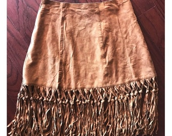 Vintage Suede Fringe Mini Skirt