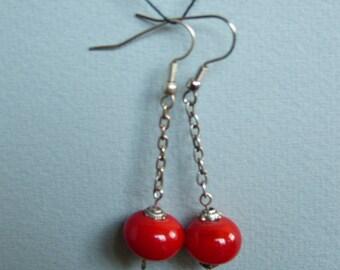 EARRINGS red Lampwork Murano glass