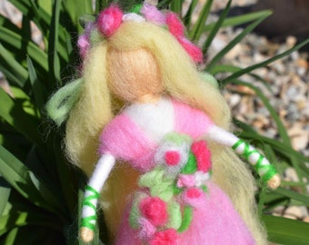 Spring 100% Wool Roving Pink Needle-Felted Doll