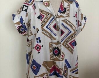 Unisex Vintage Clothing Tribal Caliche 1980/'s Native Vintage Shirt