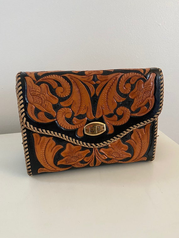 Vintage Purse, 1960's Tooled Leather Purse, Mexica
