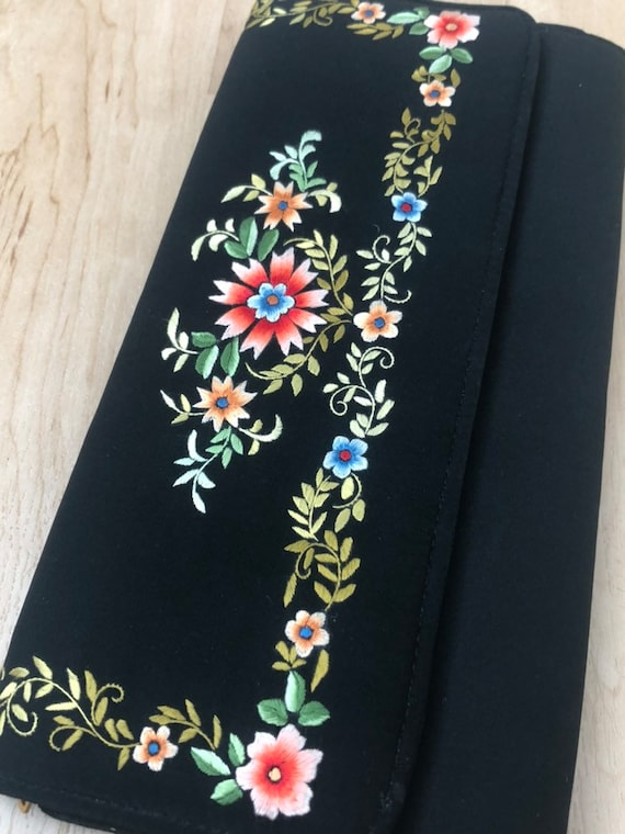 Vintage Clutch, Embroidery, Vintage Purse, Vintage