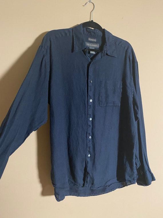 Vintage Men's Shirt, Linen Shirt, Vintage Fashion,